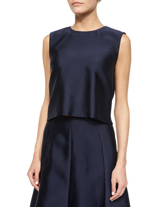 Sleeveless Jewel-Neck Balloon Shell, Navy