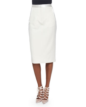 Lace-Back Merino Cardigan & Satin-Trimmed Midi Pencil Skirt