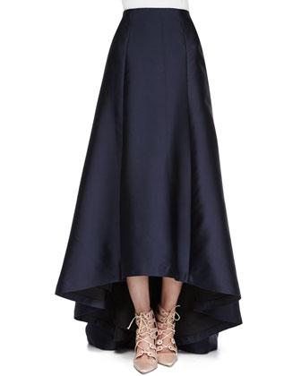 Long Fluted Ball Skirt, Navy