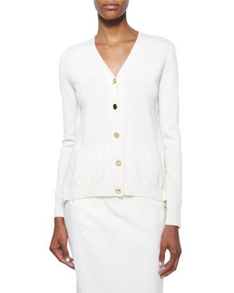 Lace-Back Merino Cardigan & Satin-Trimmed Midi Pencil Skirt