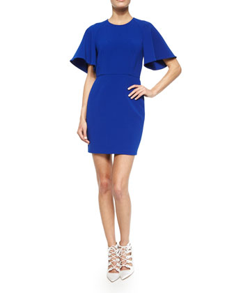 Flutter-Sleeve Crepe Mini Dress