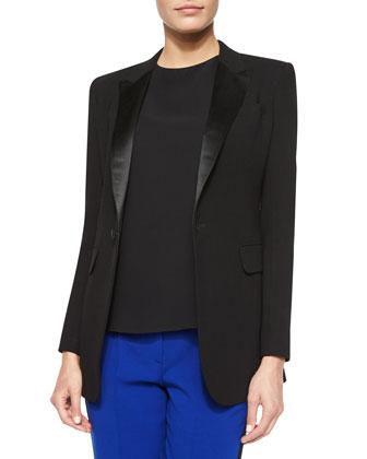 Long-Sleeve Tuxedo Blazer, Black