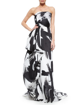 Strapless Haiku Brushstroke Hand-Draped Gown, Black/White