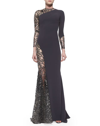 Lined Sheer Sequined Lace-Inset Gown