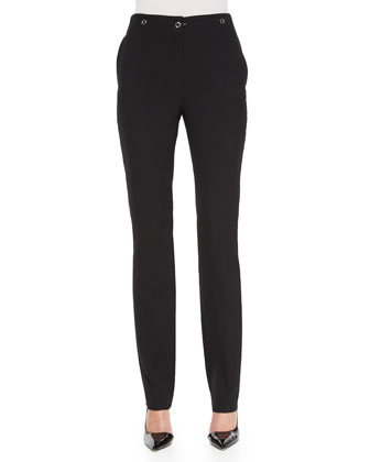 Grommet-Embellished Slim-Fit Pants