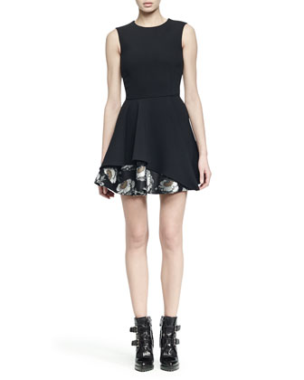Sleeveless Jacquard Flounce-Hem Dress