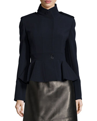Compact Peplum Utility Jacket, Wide Leather Corset Belt & Leather Skirt