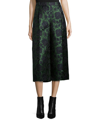 Floral Jacquard Cropped Flare Pants