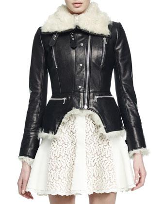 Shearling Cutaway Moto Jacket & Paneled Lace Flared Dress