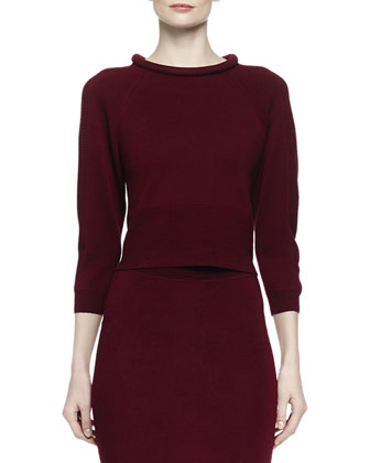 Rolled-Collar Knit Top & Ottoman Knit Pencil Skirt