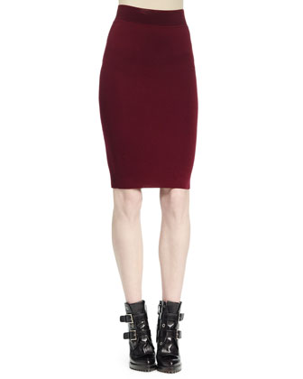 Ottoman Knit Pencil Skirt, Bordeaux