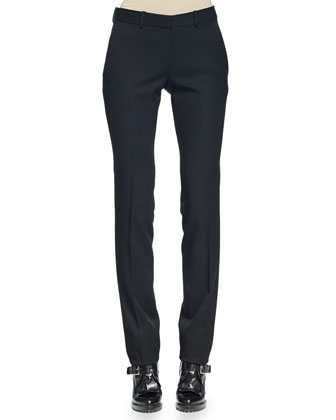 Tie-Neck Floral-Print Blouse & Slim-Fit Straight-Leg Pants