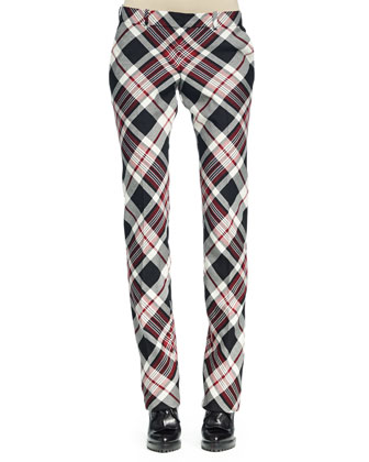 Plaid Pleated-Front Straight-Leg Pants