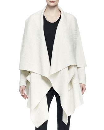 Wool-Blend Open Draped Poncho