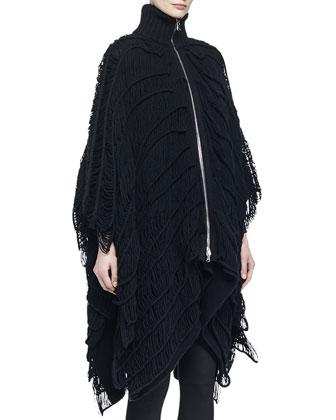 Wool-Blend Asymmetric Fringe Zip-Front Poncho