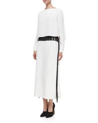 Long-Sleeve Column Gown w/Fringe Trim