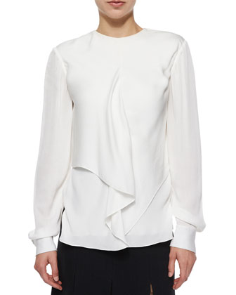Draped-Front Crepe Blouse