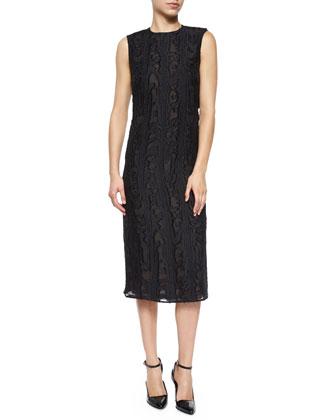 Sleeveless Fil Coupe Cutout Dress