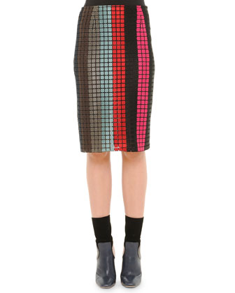 Grid-Striped Layered Cashmere Sweater & Vertical Striped Macrame Pencil Skirt