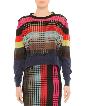 Grid-Striped Layered Cashmere Sweater