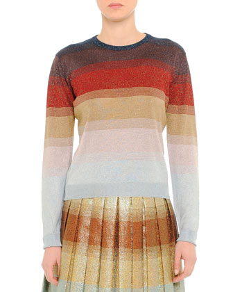 Striped Shimmer-Knit Sweater, Multicolor