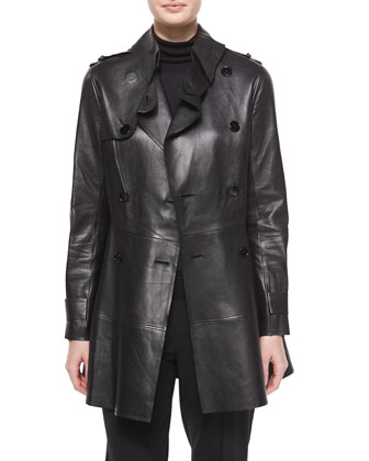 Bonded Leather Trench Coat, Cashmere-Silk Knit Turtleneck Top & Wool ...