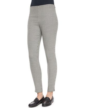 Long-Sleeve Sheer Silk Cardigan, Renita Shell & Houndstooth Wool Side-Zip Pants