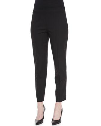 Wool Side-Zip Ankle Pants, Black