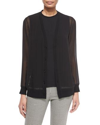 Long-Sleeve Sheer Silk Cardigan