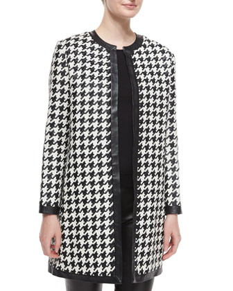 Adelle Woven Leather Houndstooth Coat, Cashmere-Silk Knit Turtleneck Top & ...