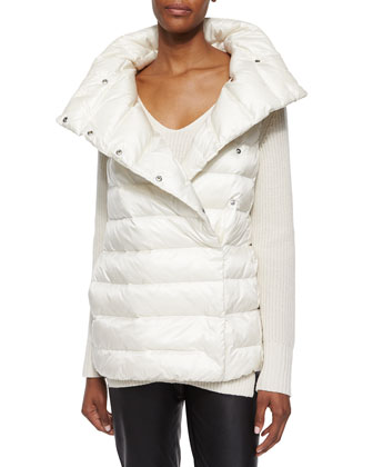 Shawl-Collar Puffer Vest, Cashmere Side-Slit Sweater & Stretch Leather Leggings