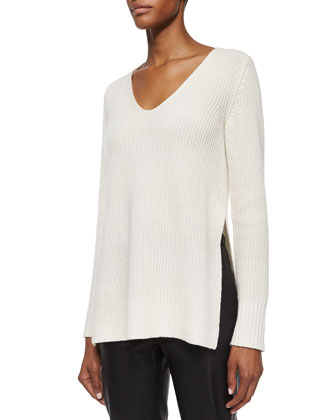 Cashmere Side-Slit Knit Sweater