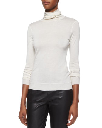 Leather Cropped Leggings, Cashmere-Blend Turtleneck & Cashmere ...