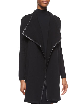 Leather-Trim Cashmere Drape-Neck Cardigan