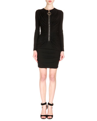 Ring-Pull Zip-Front Ruched Dress