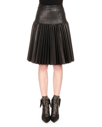 Pleated Leather Fit-and-Flare Skirt, Black