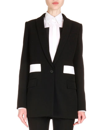 Contrast-Inset Long Blazer