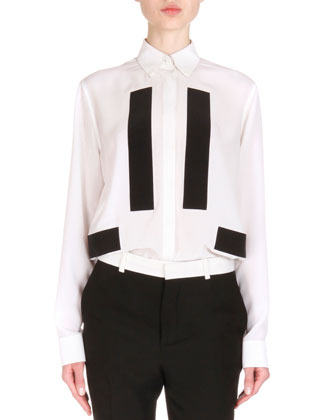 Contrast-Inset Long Blazer, Contrast Bar-Inset Button Blouse & ...