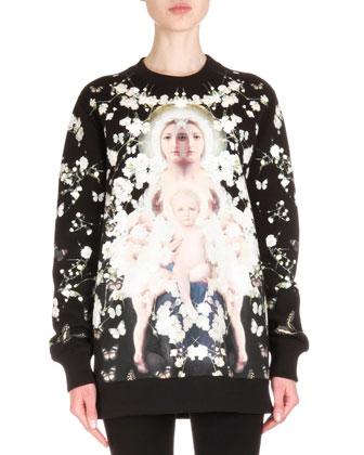 Madonna with Baby's Breath Print Sweatshirt & Zip-Trimmed Jean Leggings