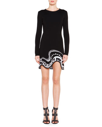 Long-Sleeve Embroidered-Trim Dress