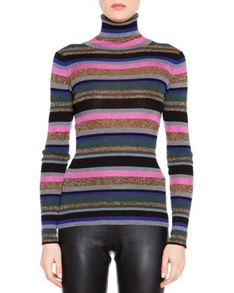 Printed 3/4-Sleeve Puffer Jacket, Striped Long-Sleeve Turtleneck Sweater & ...