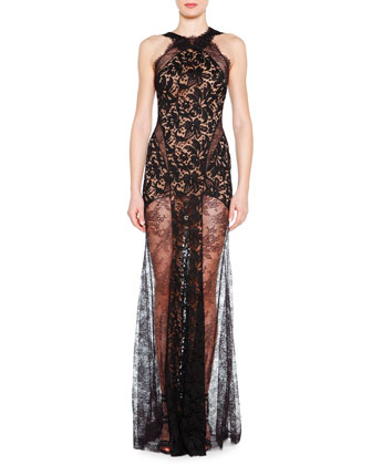 Lace Evening Gown with Sheer Skirt