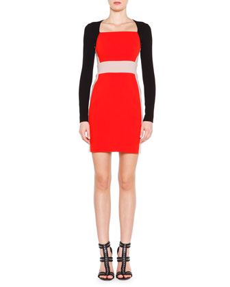 Long-Sleeve Colorblock Dress