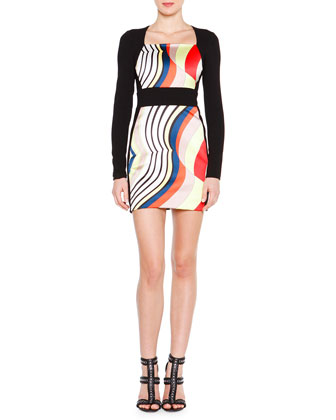 Long-Sleeve Fitted Colorblock Dress
