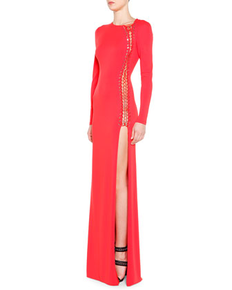 High-Slit Long-Sleeve Gown with Grommets