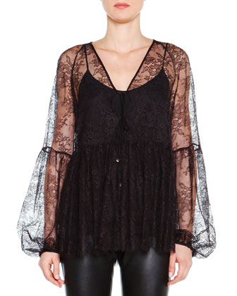 Long-Sleeve Lace Overlay Top, Nero