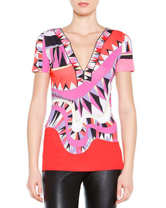 Kaleidoscope-Print Silk V-Neck Top