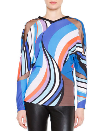 Long-Sleeve Printed Sheer Cutout Top