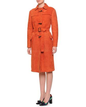 Slim-Fit Shearling Fur Toggle Coat