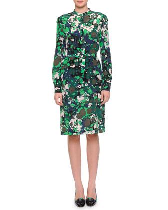 Strobe-Print Knit Cardigan & Sculptured-Shoulder Half-Button Dress